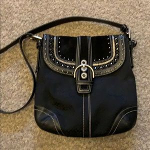 Coach black leather and canvas crossbody purse